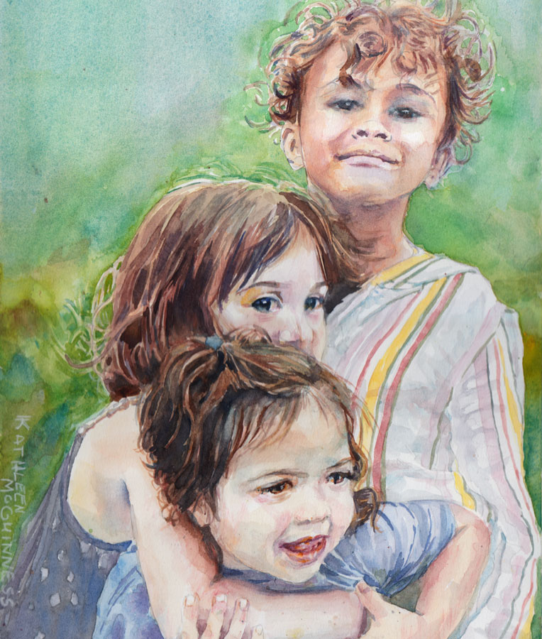 watercolor portrait of 3 kids